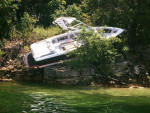 It's tough to hide a boat in the bushes.